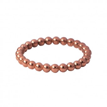 AD Unique silver rose gold band ring with beads