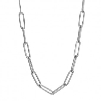 AD Unisex thin paperclip chain necklace