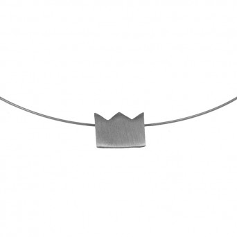AD Discrete Short Silver Necklace Crown on Collar
