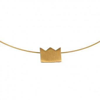 AD Διακριτικό κοντό χρυσό κολιέ κορώνα σε λαιμαριά