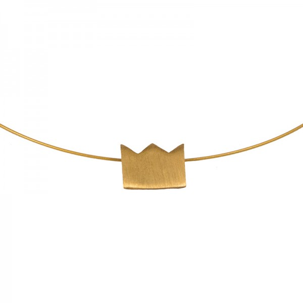 AD Discrete Short Gold Necklace Crown on Collar
