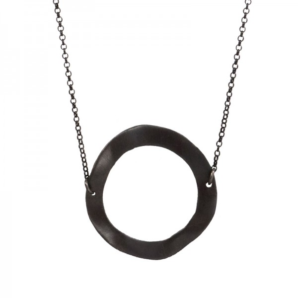 AD Long black rhodium sterling silver circle necklace