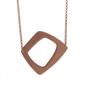 AD Long rose gold plated silver quadrangle necklace