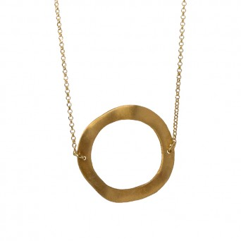 AD Long gold plated silver circle necklace