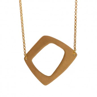 AD Long gold plated silver quadrangle necklace