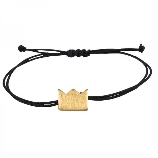 AD Discrete Gold Bracelet Crown on Black Cord