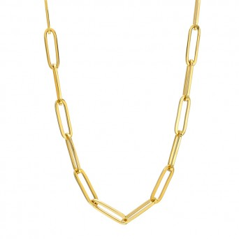 AD Unisex thin golden paperclip chain necklace
