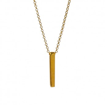 AD Gold plated silver bar necklace