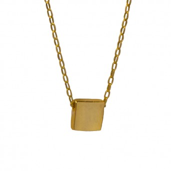 Jt Gold plated silver square necklace