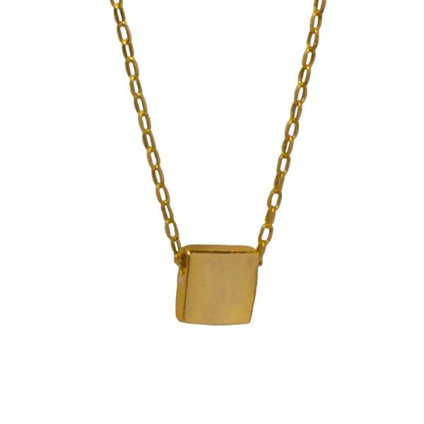 AD Ασημένιο χρυσό κολιέ τετράγωνο κοντό σε αλυσίδα