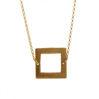 AD Gold plated silver square necklace