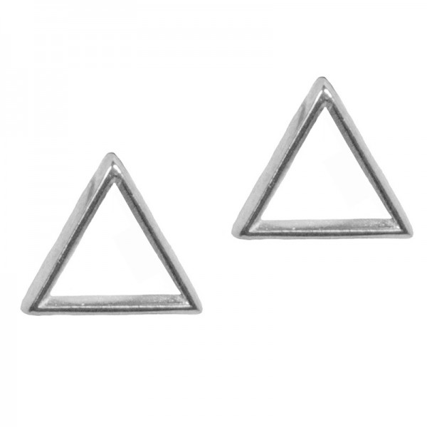AD Ασημένια καρφωτά σκουλαρίκια τρίγωνο