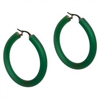 AD Ατσάλινα σκουλαρίκια κρίκοι πράσινο καουτσούκ