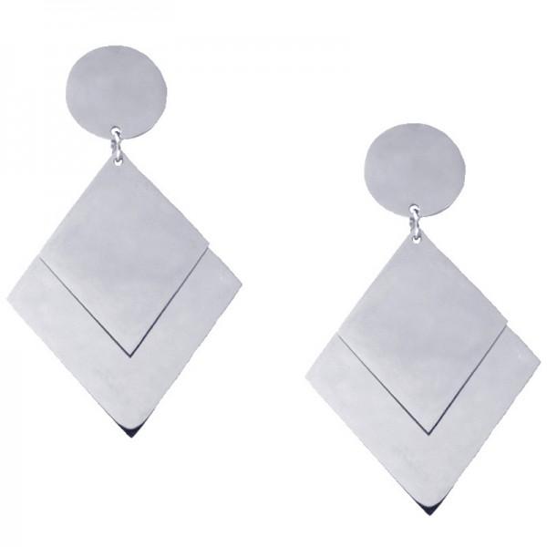 Jt Ατσάλινα σκουλαρίκια κρεμαστά τρίγωνα καθρέφτες
