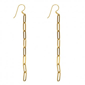 AD Hang Earrings Gold Paperclip Chain Steel
