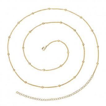 AD Ατσάλινη αλυσίδα κοιλιάς - μέσης χρυσή με μπίλιες