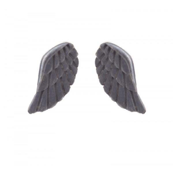 Antria Black Rodium Silver Angel Wings Stud Earrings