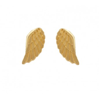 Antria Gold Plated Silver Angel Wings Stud Earrings