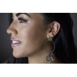 Antria Ασημένια σκουλαρίκια πολύγωνα με αιματίτη