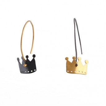 Antria Oxidized and Gold Plated Silver Crowns Earrings