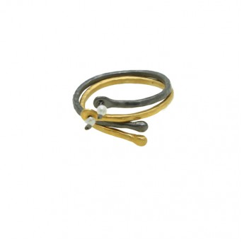 Antria Handmade double gold and black silver band ring