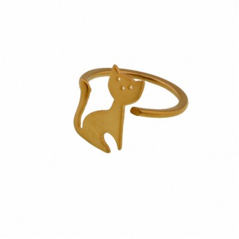 Antria Handmade cat ring with gold plated silver