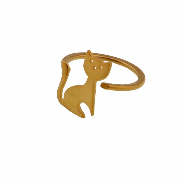 Antria Ανοιχτό δαχτυλίδι γάτα από επιχρυσωμένο ασήμι