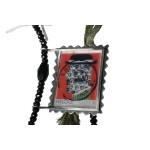 Antria Handmade  silver postage stamp Gaitis necklace
