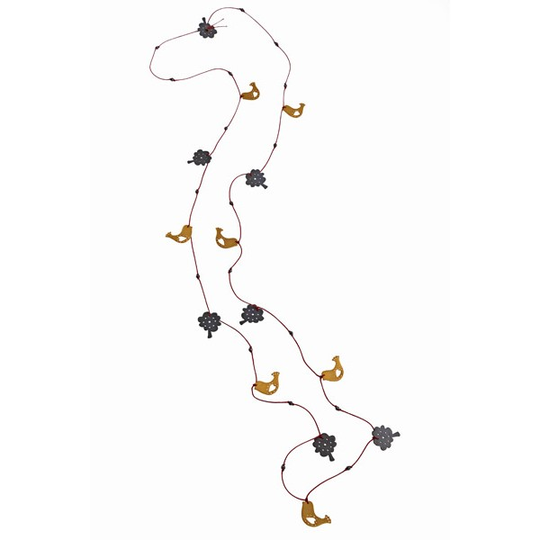 Antria Gold plated silver birds and trees necklace