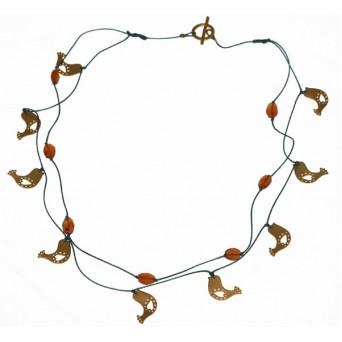 Antria Χειροποίητο ασημένιο κολιέ πουλιά με κορνεόλη