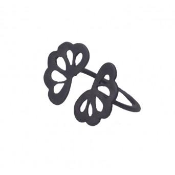 Antria Black rodium silver flower open ring