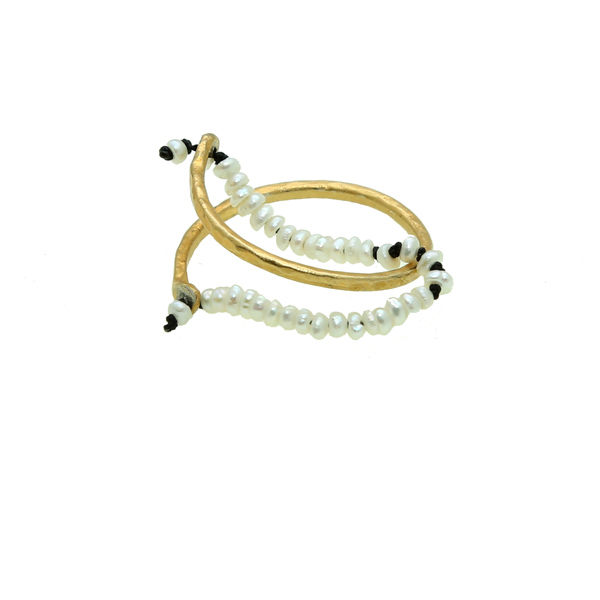 Antria Handmade gold plated silver band ring