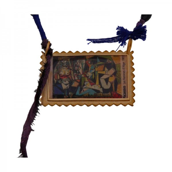 Antria Handmade Picasso painting postage stamp necklace