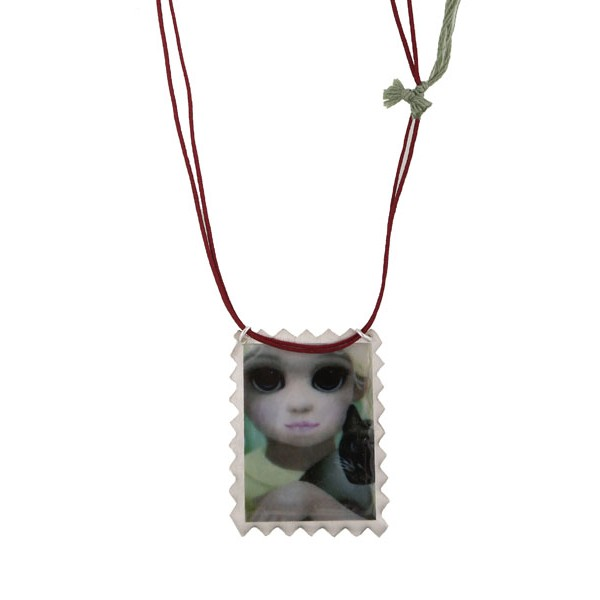Antria Handmade  silver girl with cat necklace
