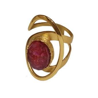 ARTE Gold plated silver statement ring with quartz and ruby
