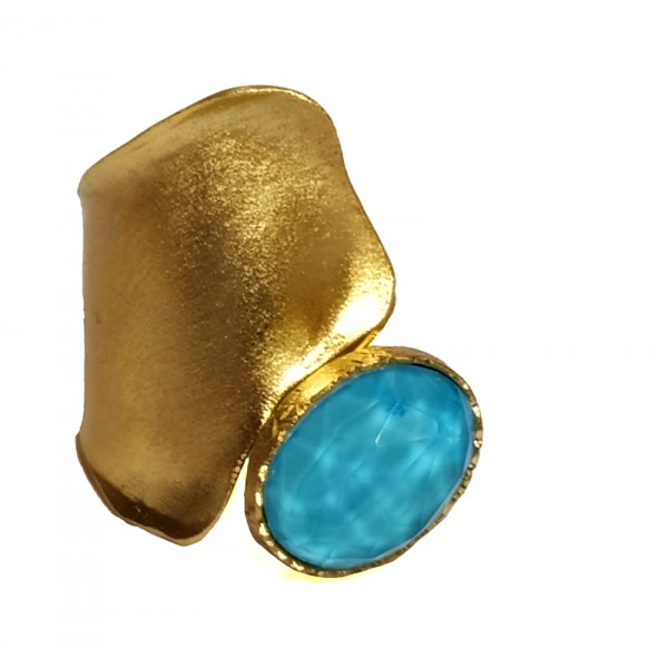 ARTE Gold plated silver ring with turquoise and quartz
