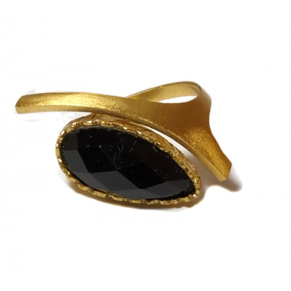 Ano Gold plated silver ring with onyx