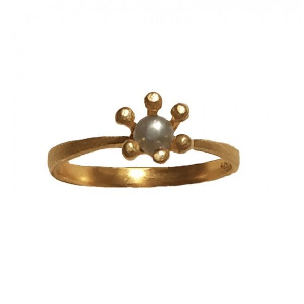 Ano Ασημένιο μονόπετρο δαχτυλίδι με λευκό μαργαριτάρι