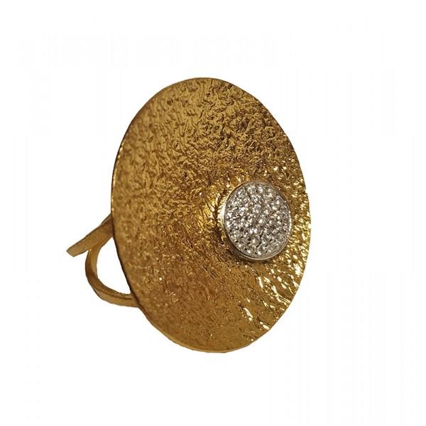 Ano Ασημένιο χρυσό δαχτυλίδι κύκλος με ζιργκόν