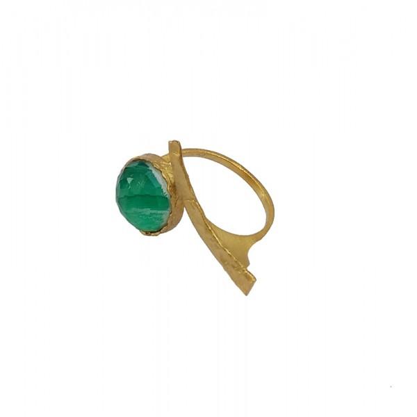 Ano Ασημένιο δαχτυλίδι χρυσό με πράσινη πέτρα ζαντ με χαλαζία