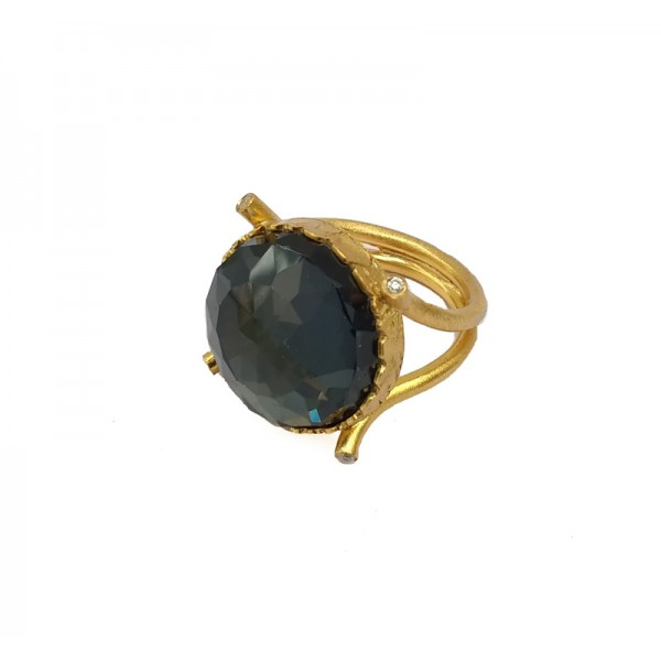 Ano Ασημένιο δαχτυλίδι χρυσό με πέτρα σιδηροπυρίτη