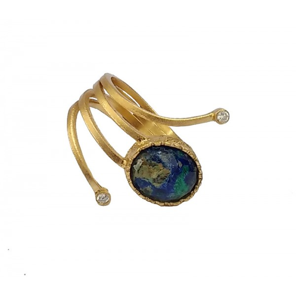 Ano Silver ring with gold, Azurite and Malachite