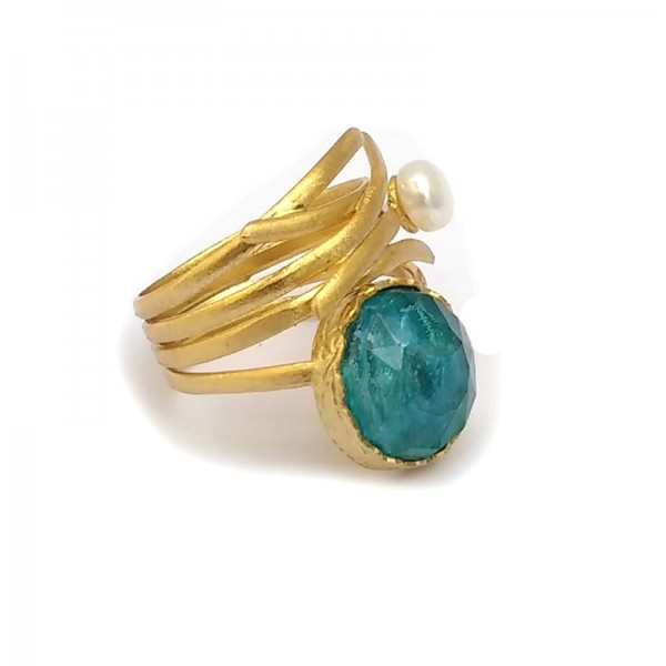 Ano Ασημένιο δαχτυλίδι χρυσό με μαργαριτάρι και απατίτη