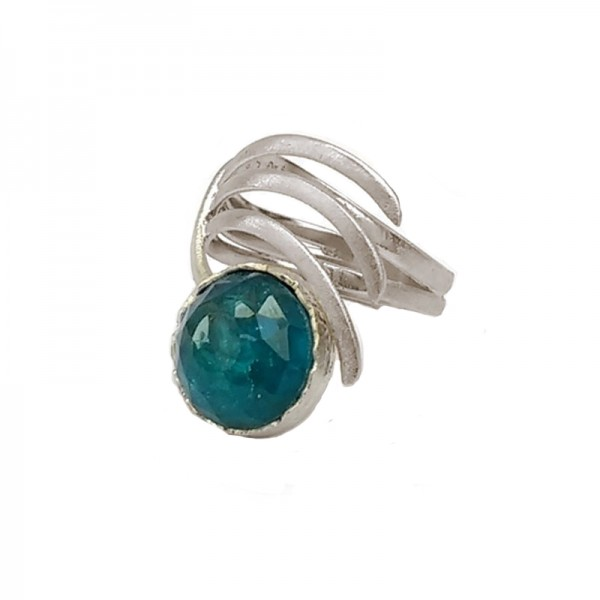 Ano Ασημένιο δαχτυλίδι με μπλε πέτρα Απατίτη