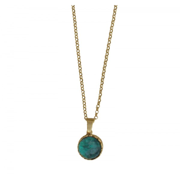 ARTE Gold plated silver round Apatite necklace
