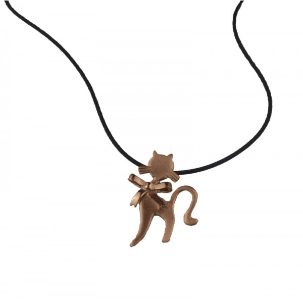 ARTE Rose gold plated silver cat necklace
