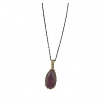 ARTE Silver necklace with gold, quartz and ruby