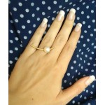 ARTE solitaire silver ring with gold and white pearl