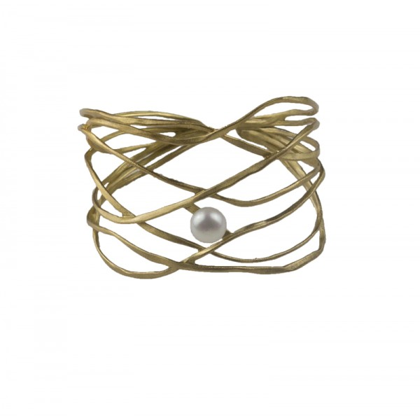 ARTE Gold plated silver open cuff bracelet with pearl