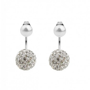 Mc Steel Double Pearl Swarovski style Earrings